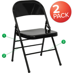 Wholesale 2 Pk. HERCULES Series Triple Braced & Double Hinged Black Metal Folding Chair