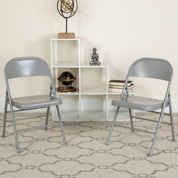 Lowest Price 2 Pk. HERCULES Series Triple Braced & Double Hinged Gray Metal Folding Chair