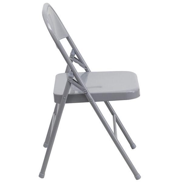 Set of 2 Metal Folding Chairs Gray Metal Folding Chair