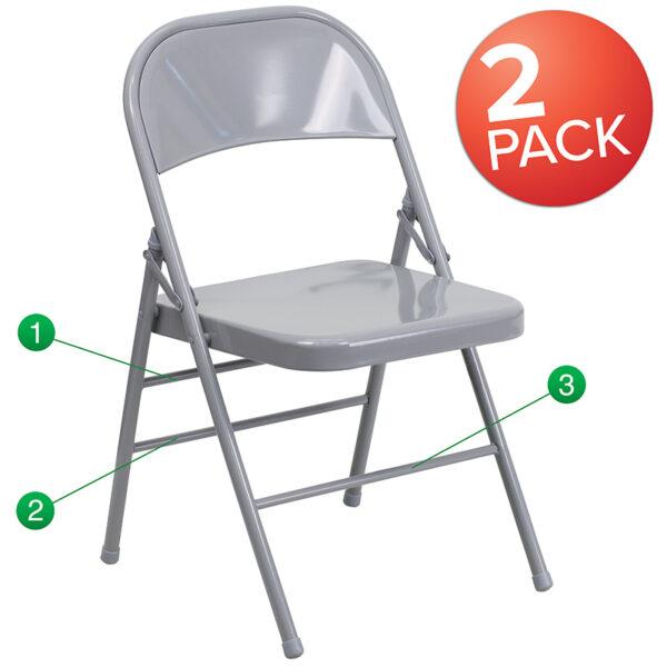 Wholesale 2 Pk. HERCULES Series Triple Braced & Double Hinged Gray Metal Folding Chair