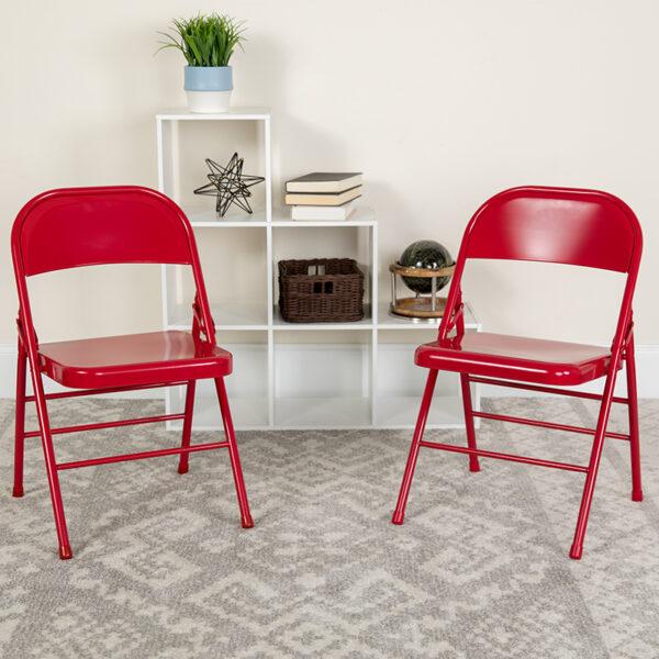 Lowest Price 2 Pk. HERCULES Series Triple Braced & Double Hinged Red Metal Folding Chair