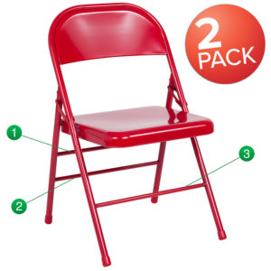 Wholesale 2 Pk. HERCULES Series Triple Braced & Double Hinged Red Metal Folding Chair