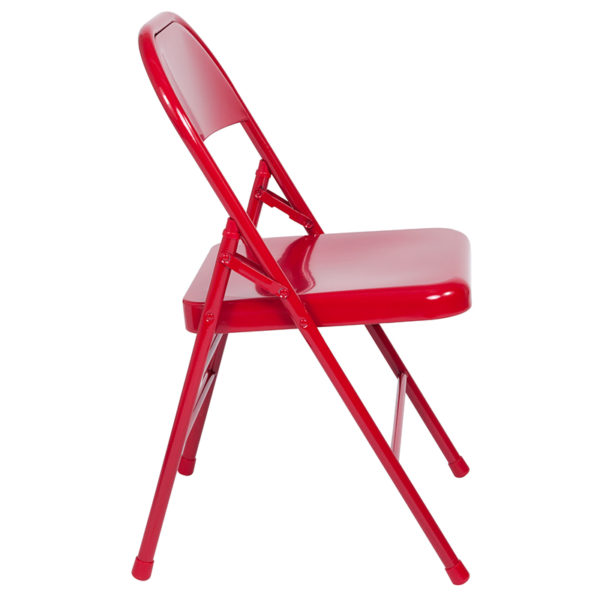 Set of 2 Metal Folding Chairs Red Metal Folding Chair
