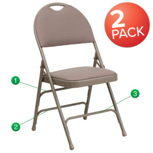 Wholesale 2 Pk. HERCULES Series Ultra-Premium Triple Braced Beige Fabric Metal Folding Chair with Easy-Carry Handle