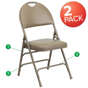 Wholesale 2 Pk. HERCULES Series Ultra-Premium Triple Braced Beige Vinyl Metal Folding Chair with Easy-Carry Handle