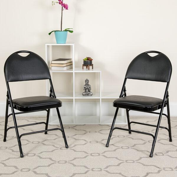 Lowest Price 2 Pk. HERCULES Series Ultra-Premium Triple Braced Black Vinyl Metal Folding Chair with Easy-Carry Handle