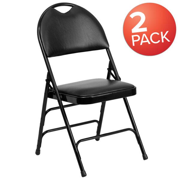 Wholesale 2 Pk. HERCULES Series Ultra-Premium Triple Braced Black Vinyl Metal Folding Chair with Easy-Carry Handle