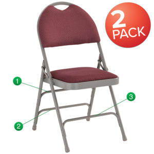 Wholesale 2 Pk. HERCULES Series Ultra-Premium Triple Braced Burgundy Fabric Metal Folding Chair with Easy-Carry Handle