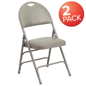 Wholesale 2 Pk. HERCULES Series Ultra-Premium Triple Braced Gray Vinyl Metal Folding Chair with Easy-Carry Handle