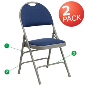 Wholesale 2 Pk. HERCULES Series Ultra-Premium Triple Braced Navy Fabric Metal Folding Chair with Easy-Carry Handle