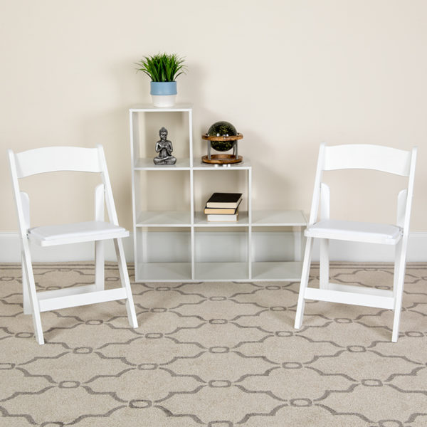 Lowest Price 2 Pk. HERCULES Series White Wood Folding Chair with Vinyl Padded Seat