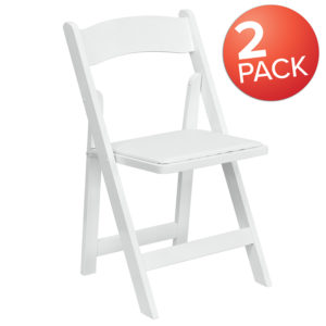 Wholesale 2 Pk. HERCULES Series White Wood Folding Chair with Vinyl Padded Seat