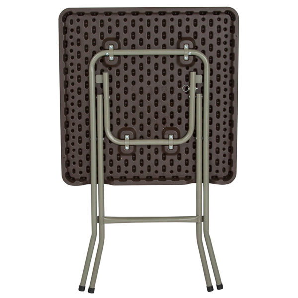 Lowest Price 23.5'' Square Brown Rattan Plastic Folding Table