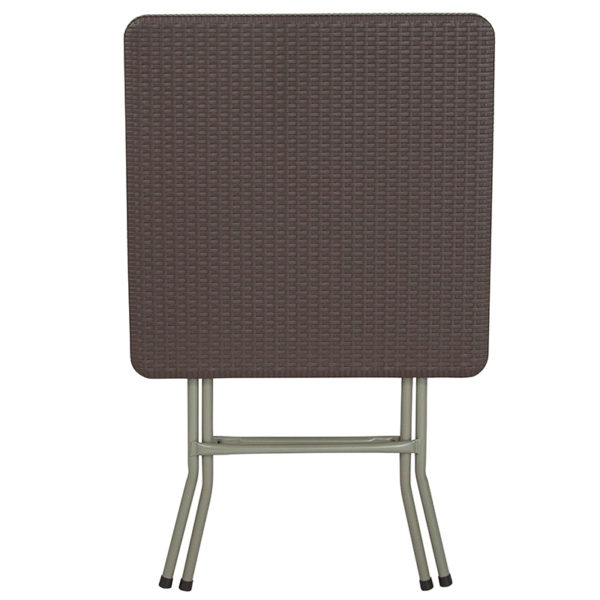 Ready To Use Table 23.5SQ Brown Rattan Fold Table