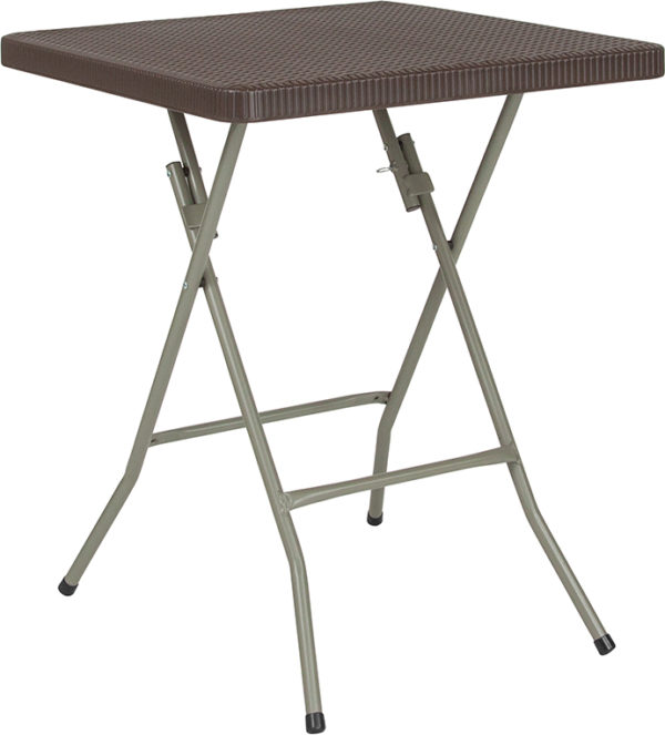 Wholesale 23.5'' Square Brown Rattan Plastic Folding Table