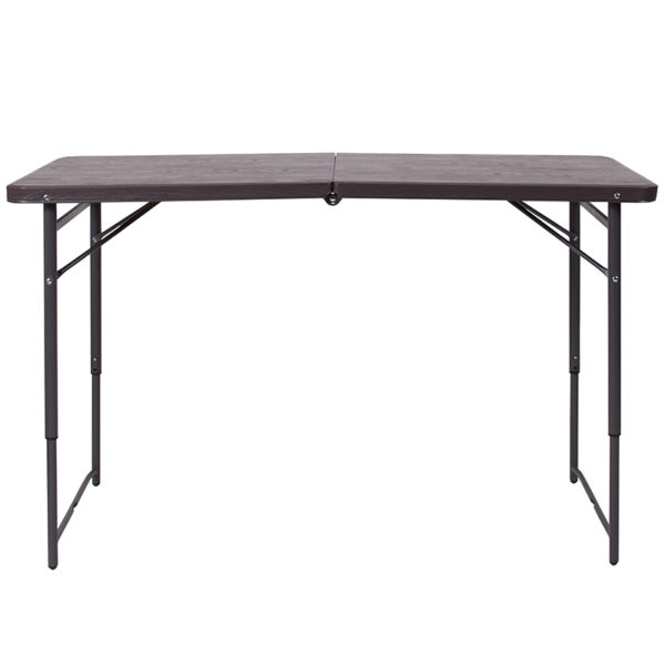 Lowest Price 23.5''W x 48.25''L Height Adjustable Bi-Fold Brown Wood Grain Plastic Folding Table with Carrying Handle