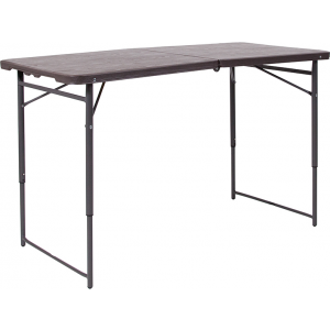 Wholesale 23.5''W x 48.25''L Height Adjustable Bi-Fold Brown Wood Grain Plastic Folding Table with Carrying Handle