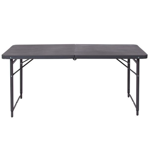 Lowest Price 23.5''W x 48.25''L Height Adjustable Bi-Fold Dark Gray Plastic Folding Table with Carrying Handle