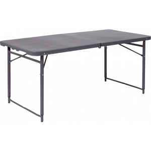Wholesale 23.5''W x 48.25''L Height Adjustable Bi-Fold Dark Gray Plastic Folding Table with Carrying Handle