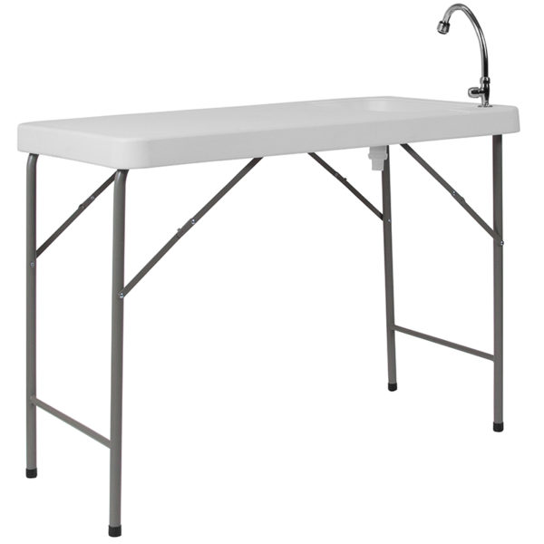 Lowest Price 23''W x 45''L Granite White Plastic Folding Table with Sink