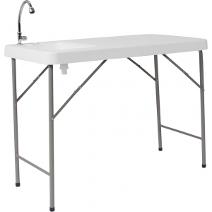 Wholesale 23''W x 45''L Granite White Plastic Folding Table with Sink