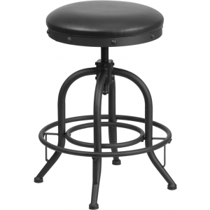 Wholesale 24'' Counter Height Stool with Swivel Lift Black Leather Seat