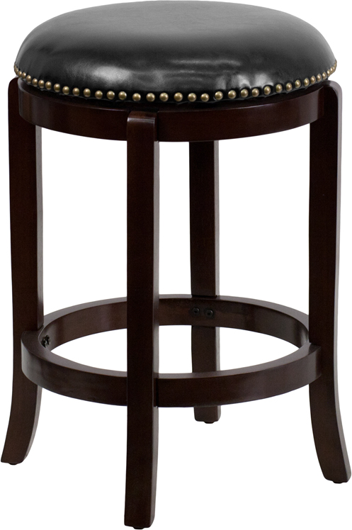 Wholesale 24'' High Backless Cappuccino Wood Counter Height Stool with Black Leather Swivel Seat