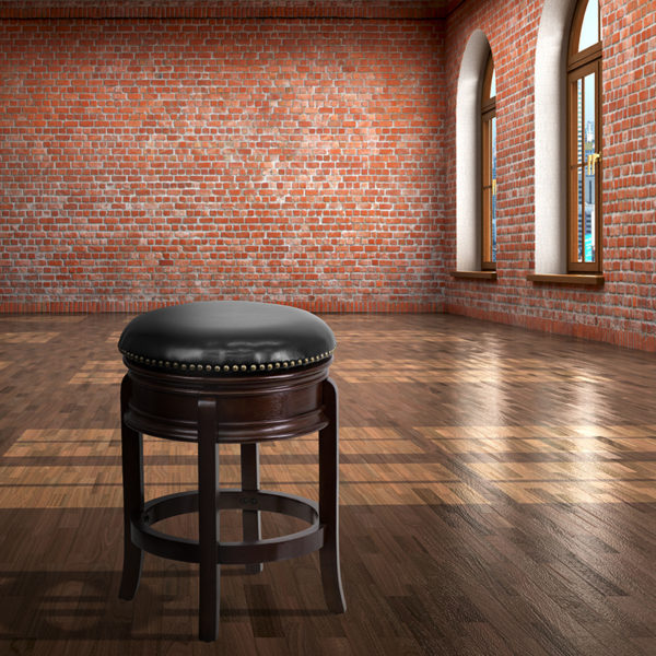 Lowest Price 24'' High Backless Cappuccino Wood Counter Height Stool with Carved Apron and Black Leather Swivel Seat