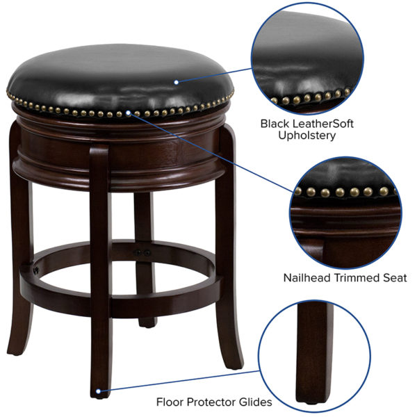 """Transitional Style Counter Height Bar Stool 24"""" No Back Cappuccino Stool"""