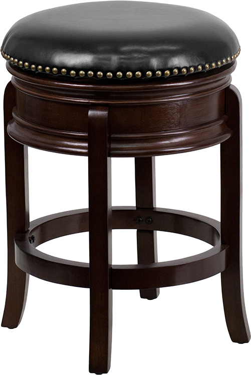 Wholesale 24'' High Backless Cappuccino Wood Counter Height Stool with Carved Apron and Black Leather Swivel Seat