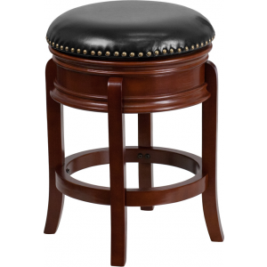 Wholesale 24'' High Backless Light Cherry Wood Counter Height Stool Carved Apron and Black Leather Swivel Seat