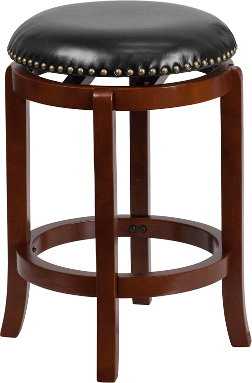 Wholesale 24'' High Backless Light Cherry Wood Counter Height Stool with Black Leather Swivel Seat