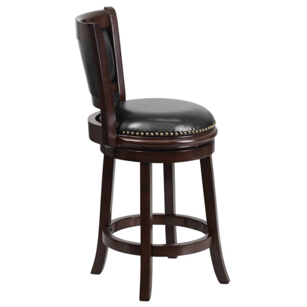 Lowest Price 24'' High Cappuccino Wood Counter Height Stool with Panel Back and Black Leather Swivel Seat