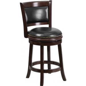 Wholesale 24'' High Cappuccino Wood Counter Height Stool with Panel Back and Black Leather Swivel Seat