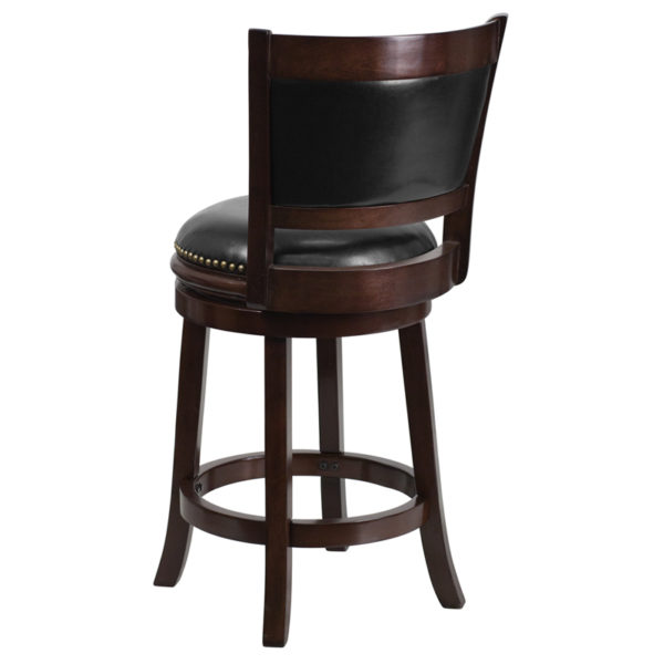 """Transitional Style Stool 24"""" Cappuccino Wood Stool"""