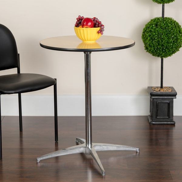 Lowest Price 24'' Round Wood Cocktail Table with 30'' and 42'' Columns