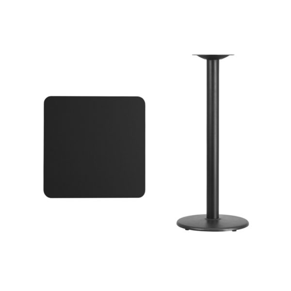 Lowest Price 24'' Square Black Laminate Table Top with 18'' Round Bar Height Table Base