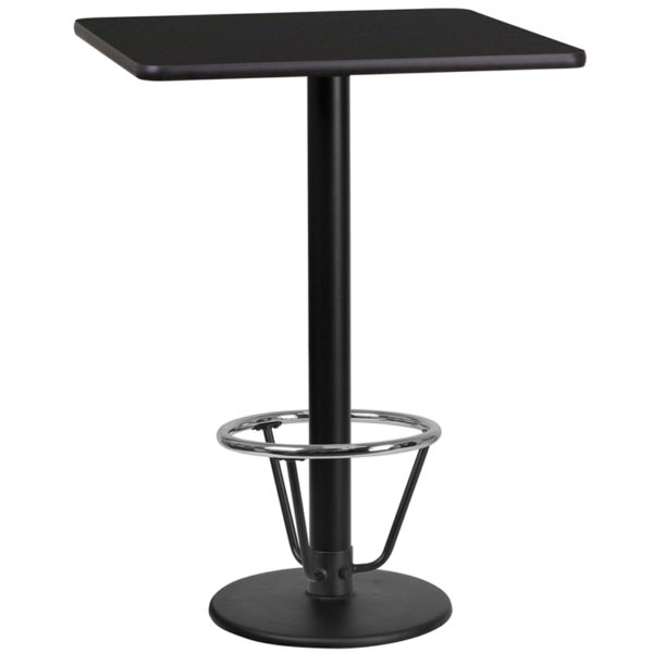 Wholesale 24'' Square Black Laminate Table Top with 18'' Round Bar Height Table Base and Foot Ring