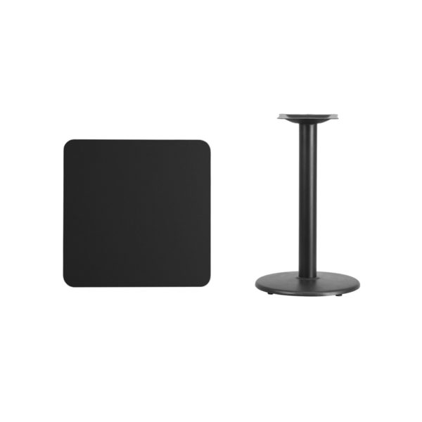 Lowest Price 24'' Square Black Laminate Table Top with 18'' Round Table Height Base