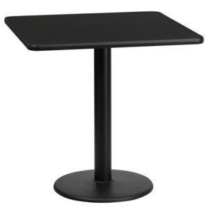 Wholesale 24'' Square Black Laminate Table Top with 18'' Round Table Height Base