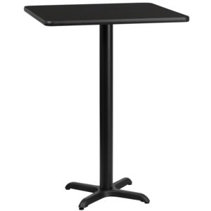 Wholesale 24'' Square Black Laminate Table Top with 22'' x 22'' Bar Height Table Base