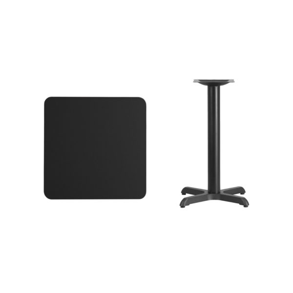 Lowest Price 24'' Square Black Laminate Table Top with 22'' x 22'' Table Height Base