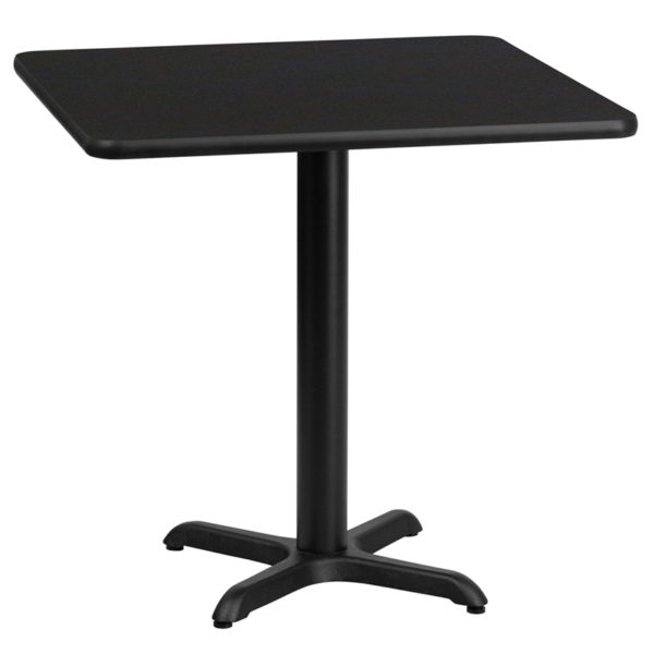 Wholesale 24'' Square Black Laminate Table Top with 22'' x 22'' Table Height Base