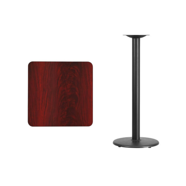 Lowest Price 24'' Square Mahogany Laminate Table Top with 18'' Round Bar Height Table Base