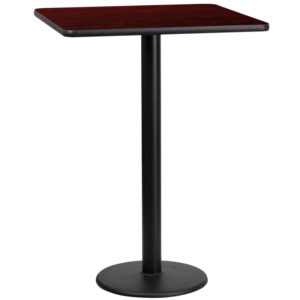 Wholesale 24'' Square Mahogany Laminate Table Top with 18'' Round Bar Height Table Base