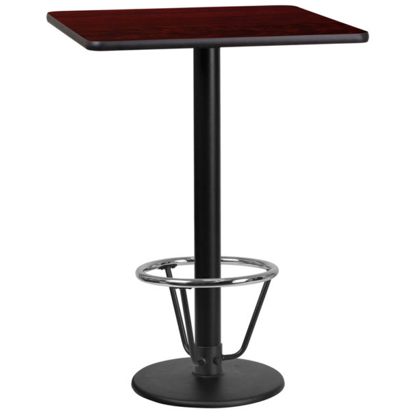 Wholesale 24'' Square Mahogany Laminate Table Top with 18'' Round Bar Height Table Base and Foot Ring