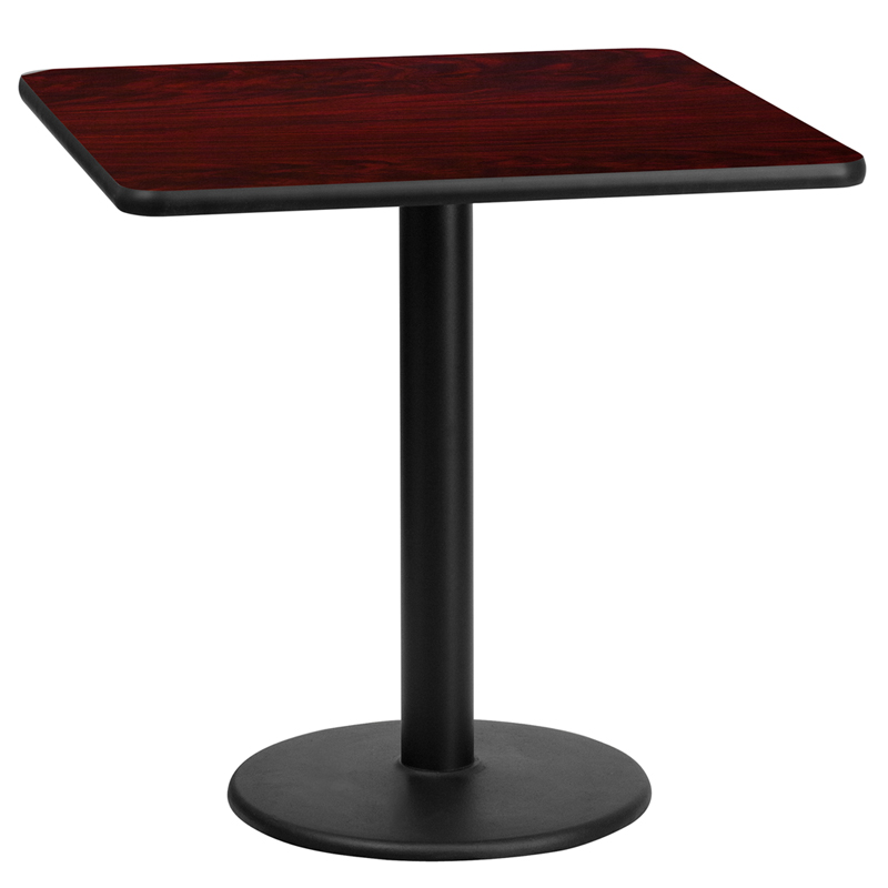 Wholesale 24'' Square Mahogany Laminate Table Top with 18'' Round Table Height Base