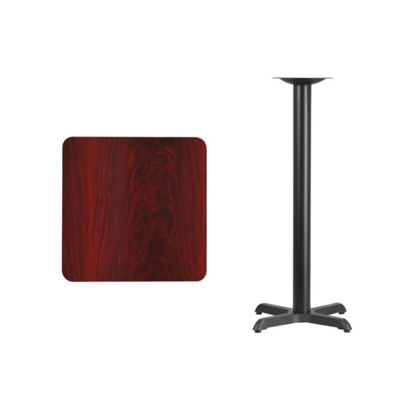 Lowest Price 24'' Square Mahogany Laminate Table Top with 22'' x 22'' Bar Height Table Base