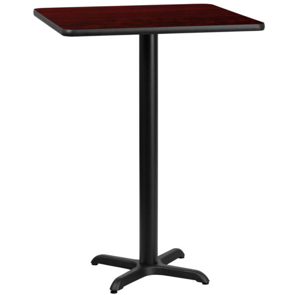 Wholesale 24'' Square Mahogany Laminate Table Top with 22'' x 22'' Bar Height Table Base