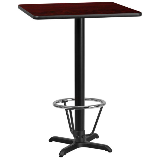 Wholesale 24'' Square Mahogany Laminate Table Top with 22'' x 22'' Bar Height Table Base and Foot Ring